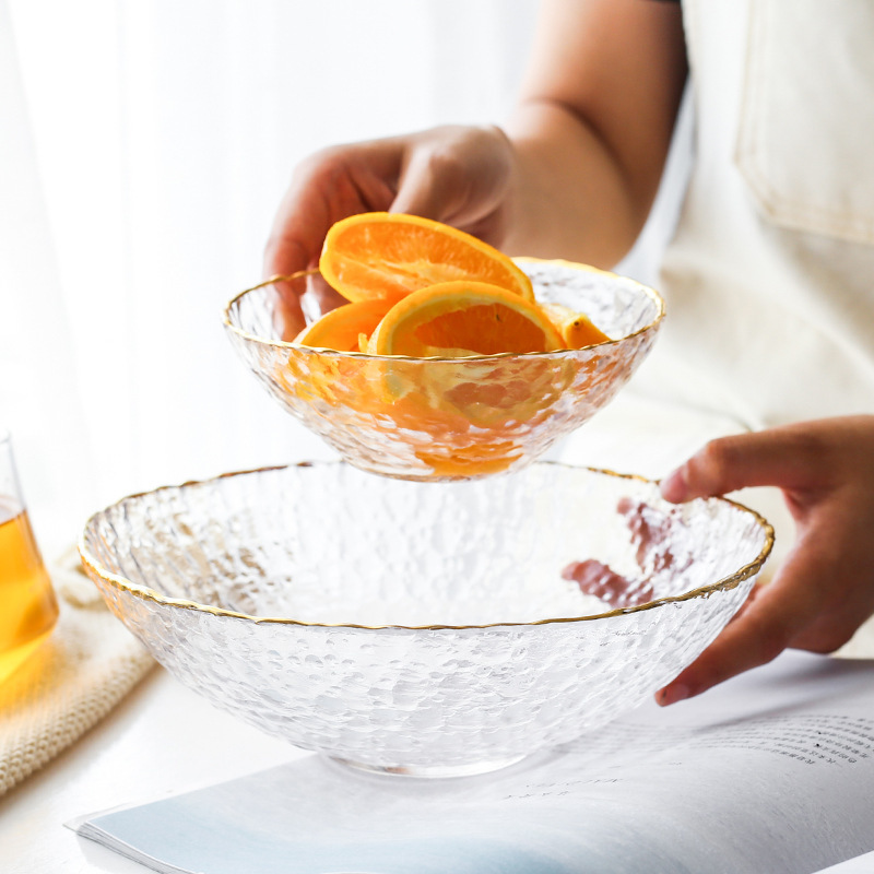 Salada Tigela de vidro Borda Dourada Household Food Fruteira Sobremesa Talheres