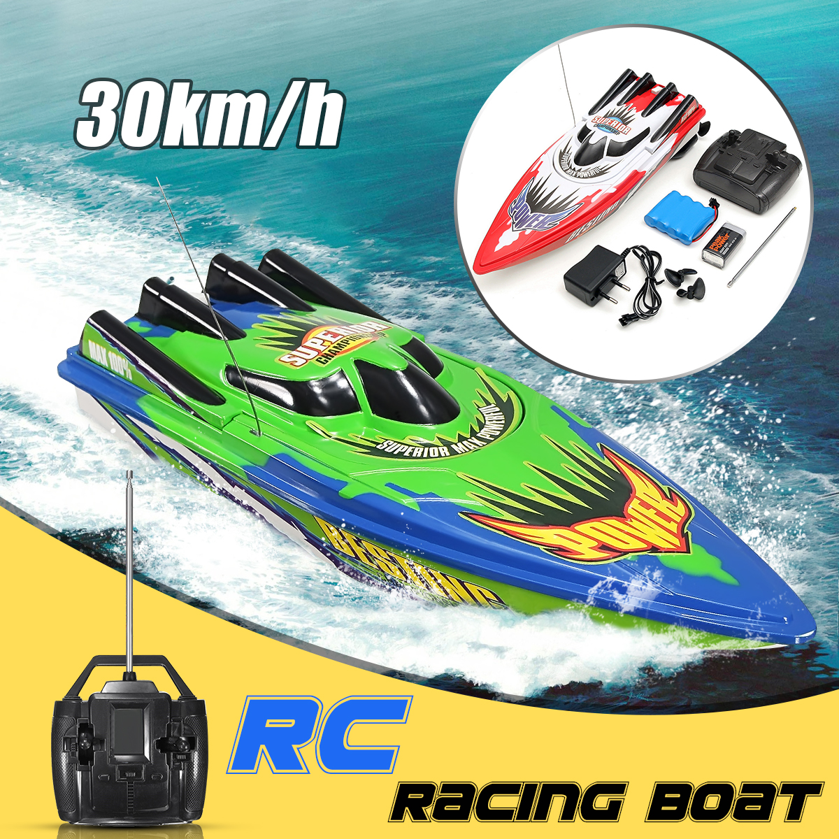 Red/Green RC Boat Radio Remote Control Twin Motor High Speed Boat RC Racing Toy Gift 33x11x9cm lcll rc boat radio remote control twin motor high speed boat rc racing toy gift for kids eu plug