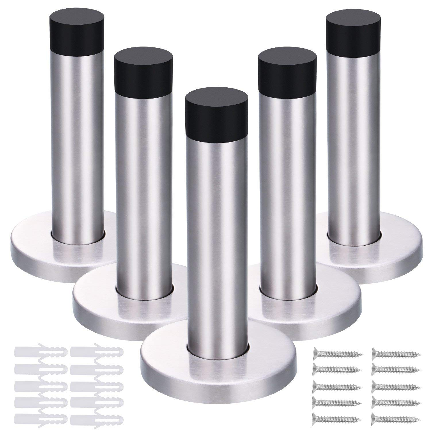 5 Pack 90 mm Door Stop 304 stainless steel Door Stopper Holder with Screws and Drywall Anchors