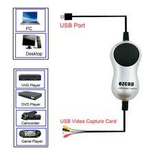 Ezcap USB2.0 HD לכידת וידאו טלוויזיה DVD VHS DVR מתאם מקליט חוטף ממיר אנלוגי וידאו אודיו דיגיטלי עבור Windows 10 8 7