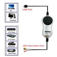 Ezcap usb2.0 hd vídeo captura tv dvd vhs dvr adaptador gravador grabber conversor analógico de áudio de vídeo para digitas para windows 10 8 7