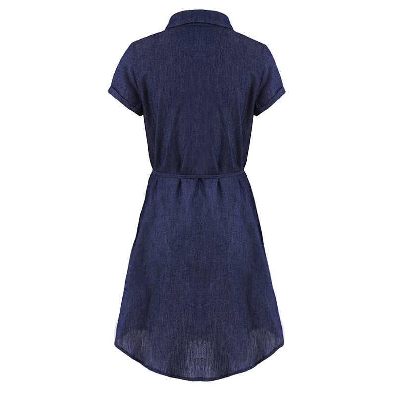 Модное осеннее женское однотонная джинсовая платье с отложным воротником, с коротким рукавом, однобортное приталенное мини-платье-рубашка