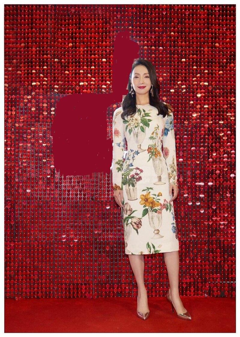 2019 été élégant femmes imprimé fleuri blanc robe Midi piste concepteur à manches longues femme fête robes longues vêtements