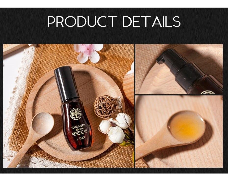 LAIKOU 40ML Morocco Pure Argan Oil Hair Growth Nut Essential Oil Anti Hair Loss Repair for Repair Damaged Dry Hair Types TSLM1 4