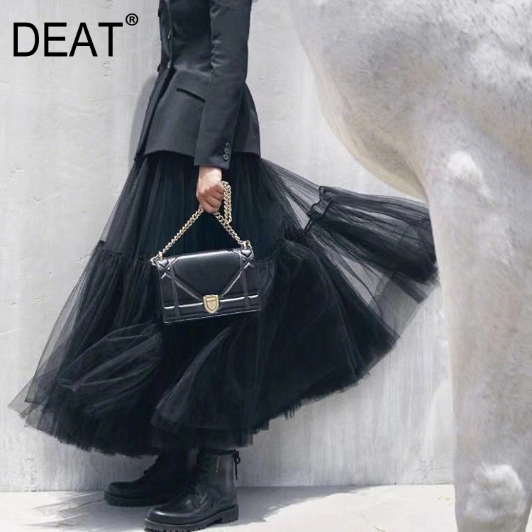DEAT 2019 New High Waist Spring Fashion Women Clothing Mesh Cake Skirt Halfbody Female Bottoms Wearing