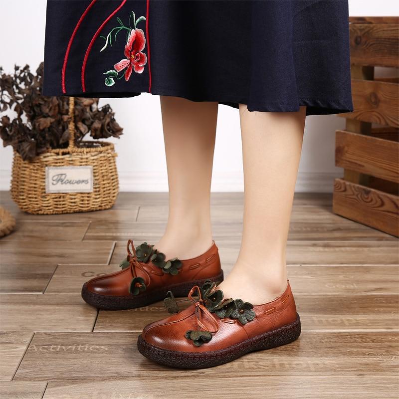 Slipona Chaussures De 2019 Talon Automne brown Plats Fleur En D'été Véritable Cuir Espadrilles vert Noir Faible Ballet Femmes Mocassins ZIESqOx