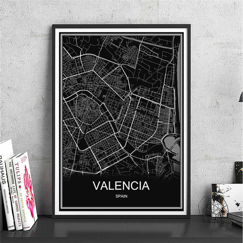 VALENCIA Canvas Gecoat papier Moderne Stad poster Abstract print foto wereldkaart olieverf Cafe bar Woonkamer Decor home