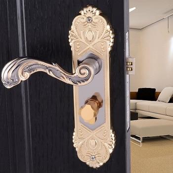 European style Indoor Door lock Bedroom door locks Titanium black gold handle lock bathroom door handle all copper locks continental indoor bedroom door handle s7462sb