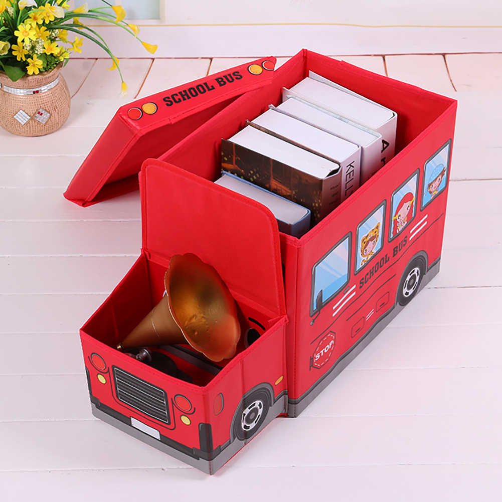 bb7ff6e9df ... Storage Box Multi Usage Police Car School Bus Vehicle Toy Storage Box  Kids Stool Household ...