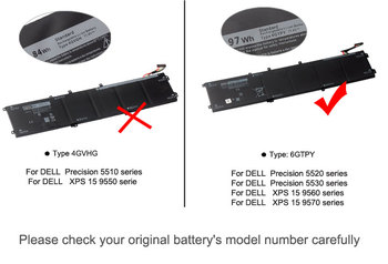 KingSener ใหม่ 11.4V 97WH 6GTPY แบตเตอรี่แล็ปท็อปสำหรับ DELL Precision 5520 5530 สำหรับ DELL XPS 15 9570 9560 series