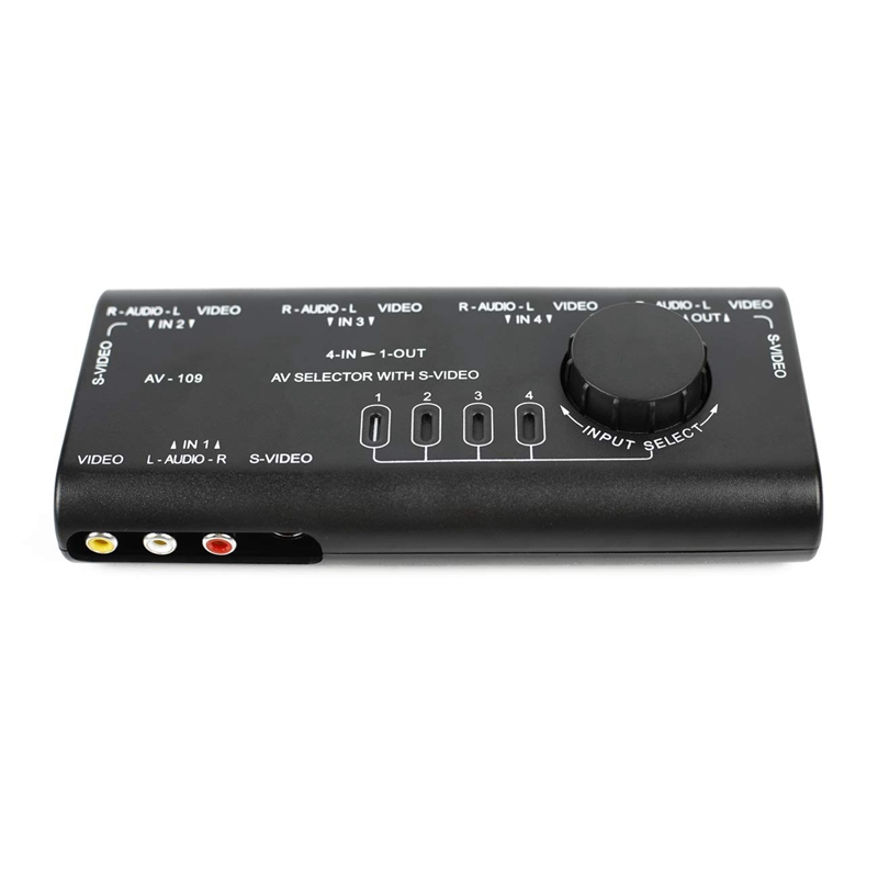 Practical AV Audio Video Signal Switcher 4 In 1 Out 4 Ways 3 RCA Switch Box Spiltter For HDTV LCD DVD STB Game Consoles AV-109