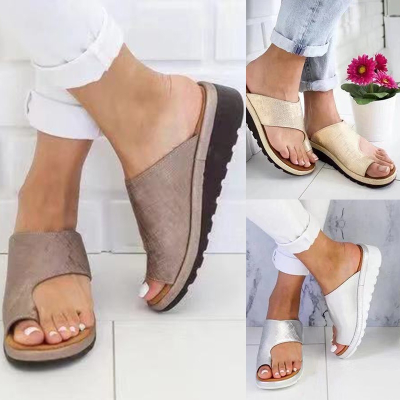 Women Artificial Leather Shoes Ladies Casual Soft Big Toe Correction Shoes Sandals Orthopedic Bunion Corrector Summer Shoes