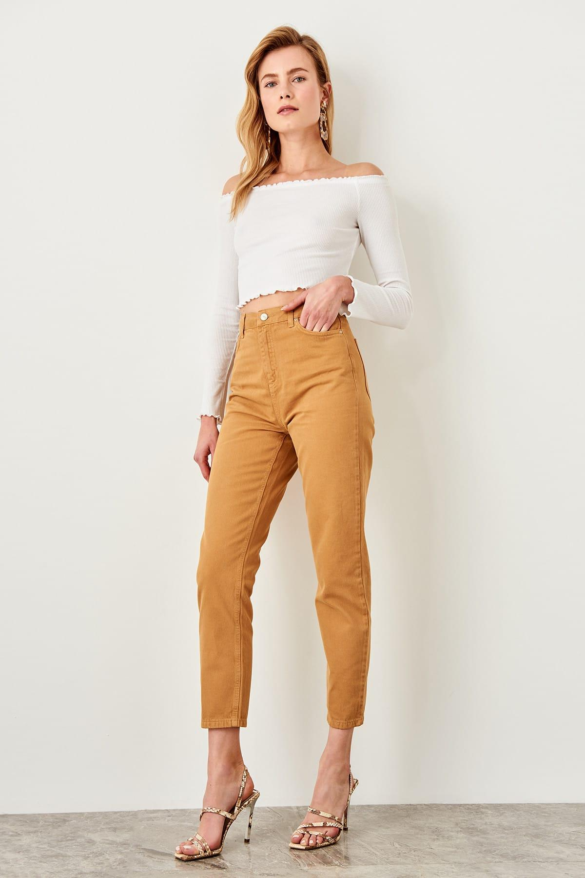 Chic Elastic High Bel Mom Jeans - Online shopping store | beatoutfit