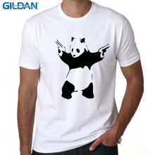 GILDAN Short Sleeve Men T Shirt New Fashion The Real Gangster gun Printed T-shirt O-Neck Tops Panda With Gun Cool Tee Shirts