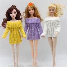 For 30cm Doll Clothes Accessories Knitted Dress Doll Fashion One Shoulder Long Sweater(China)