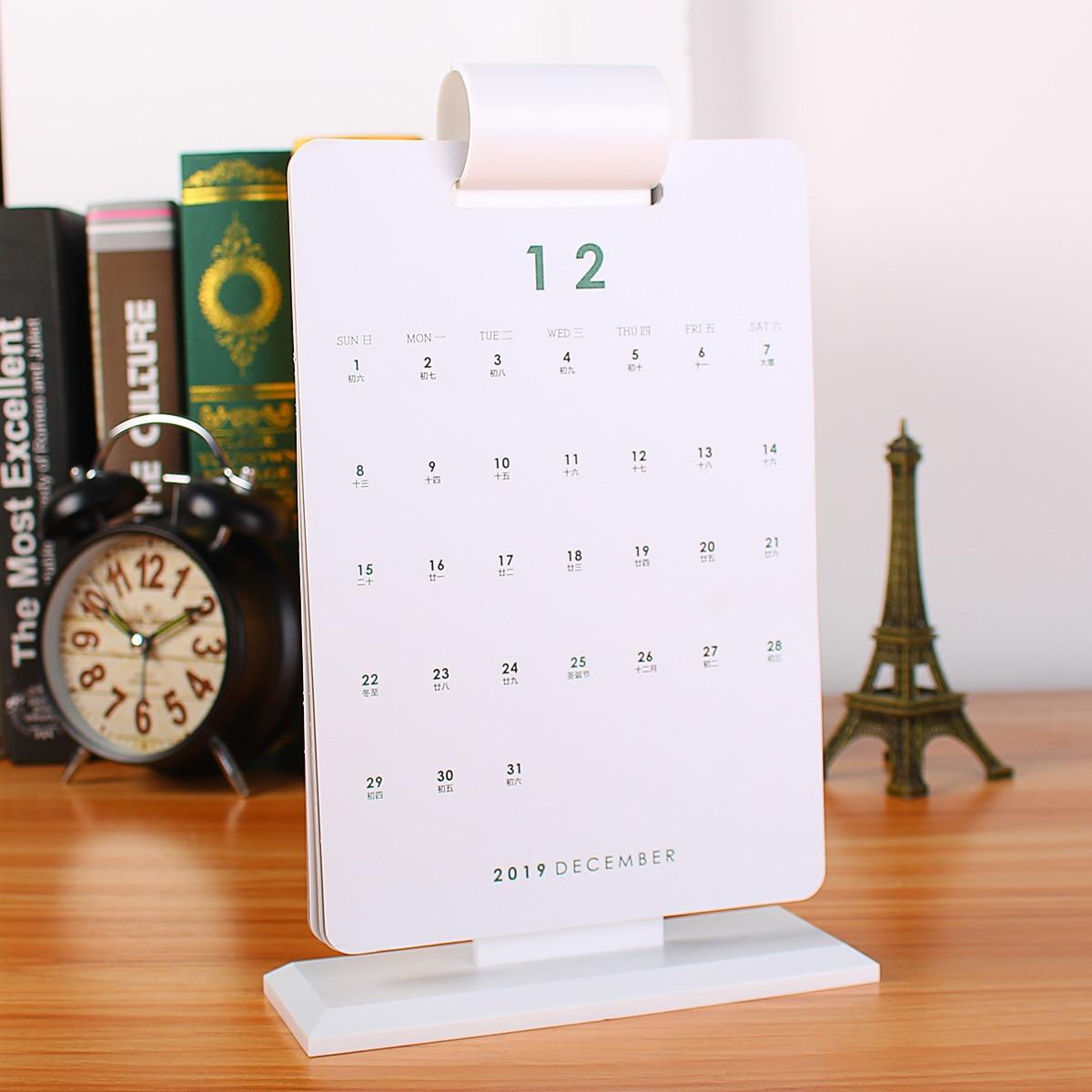 Kalender, Planer Und Karten Und Ausland Weithin Vertraut. Kalender 2019 Einfache Design Desktop Stehenden Papier Kalender Memo Täglichen Zeitplan Tisch Planer Jährlich Agenda Organizer 21,5*14,5 Cm Um Eine Hohe Bewunderung Zu Gewinnen Und Wird Im In