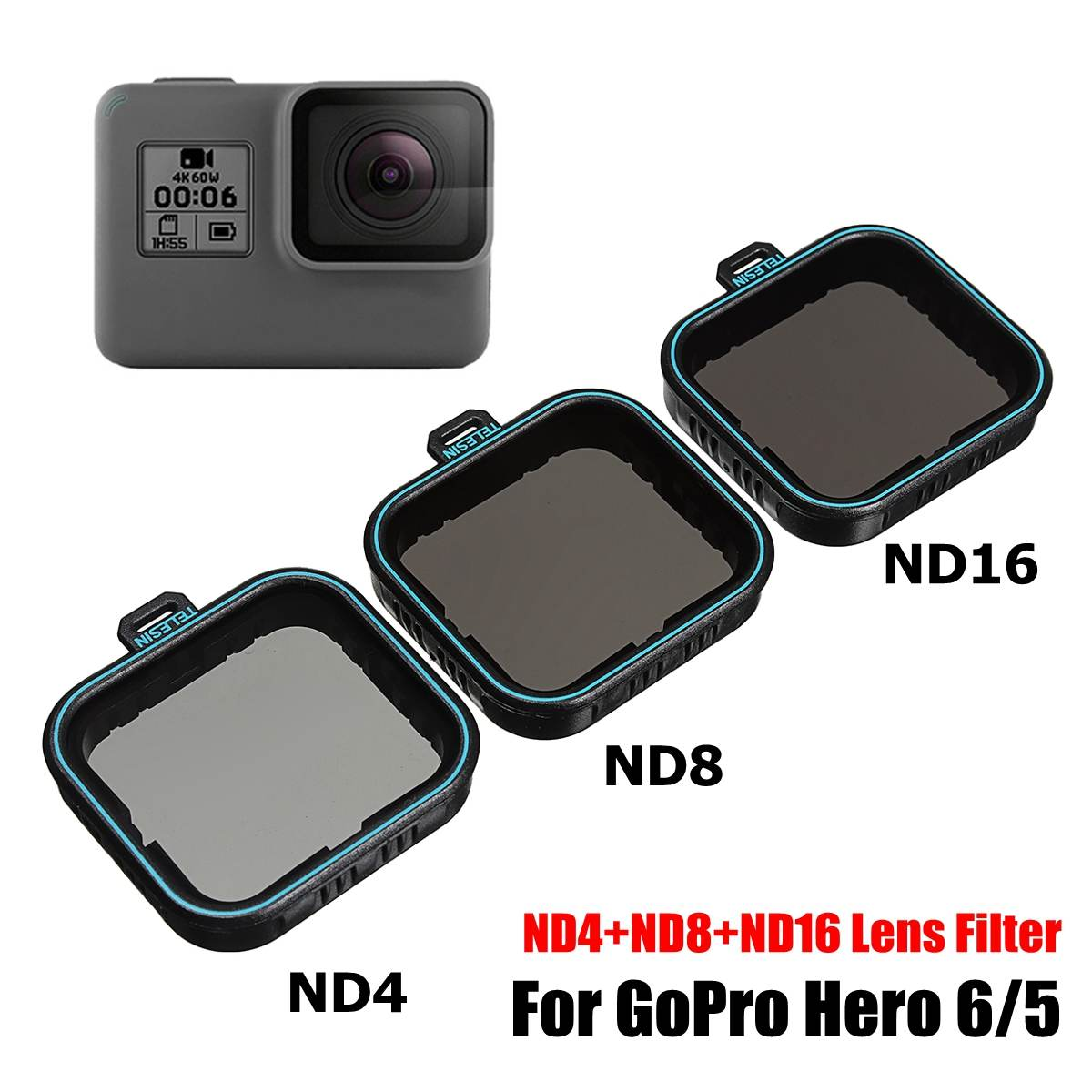 3 pacote Fiter Conjunto Protetor de Lente Filtro ND (ND4 8 16) + CPL Filtro para Gopro Hero Hero 5 6 Preto Herói Câmera 7 Accessoreis