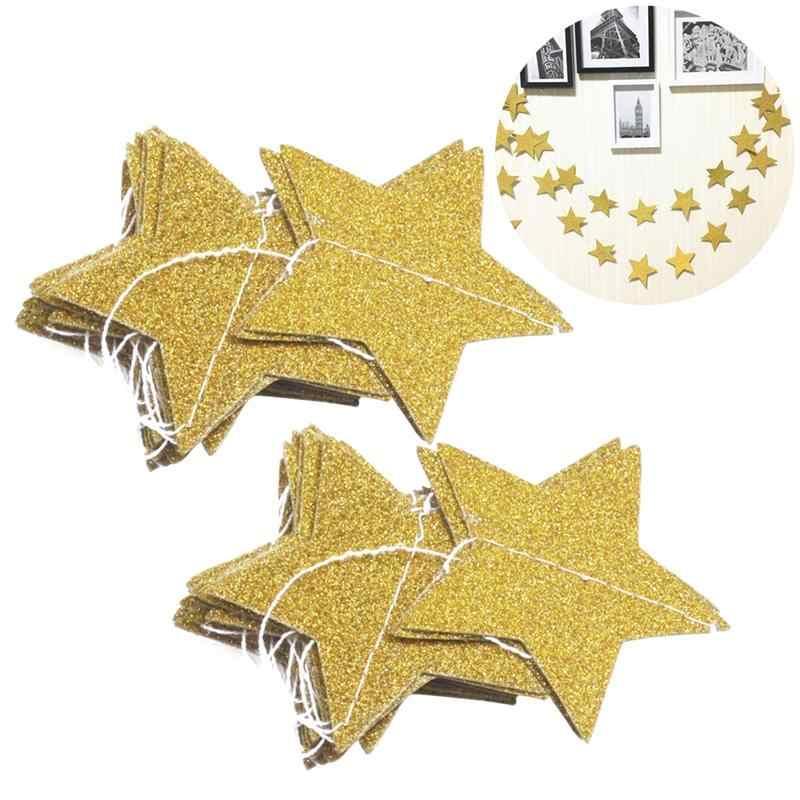 2 ชิ้น 2 เมตร Gold Star Garland คริสต์มาส Galaxy PaperTwinkle Twinkle Little Star Garland สำหรับงานแต่งงาน Christmas Party Decor
