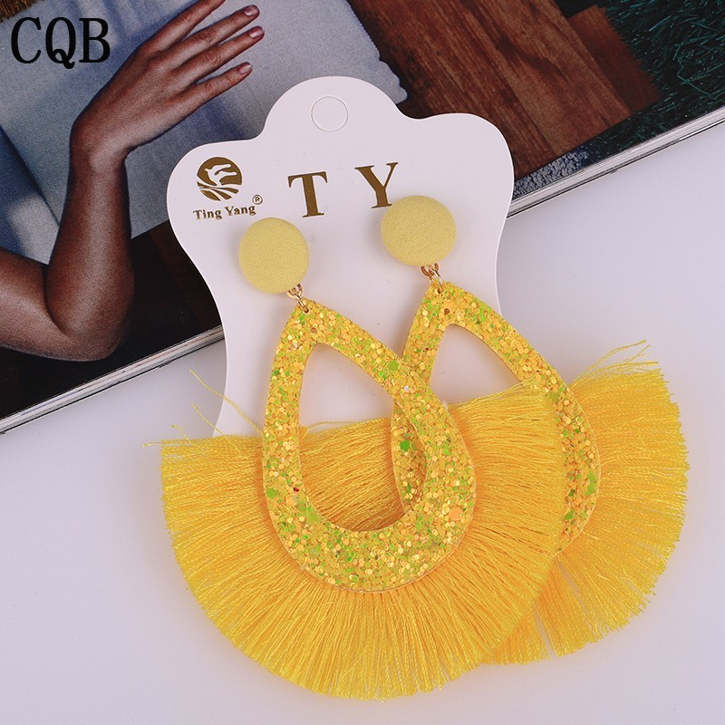 Fashion jewelry fringe tassel earrings yellow fashion sequins ladies earrings 2020 bohemian style geometric personality party