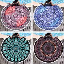 Mandala Round Tapestry Summer Beach Towel Bikini Shawl Picnic Throw Rug Blanket Tassel Bohemia Mats Yoga Mat Home Decor Textile round argyle mandalas tassel beach throw