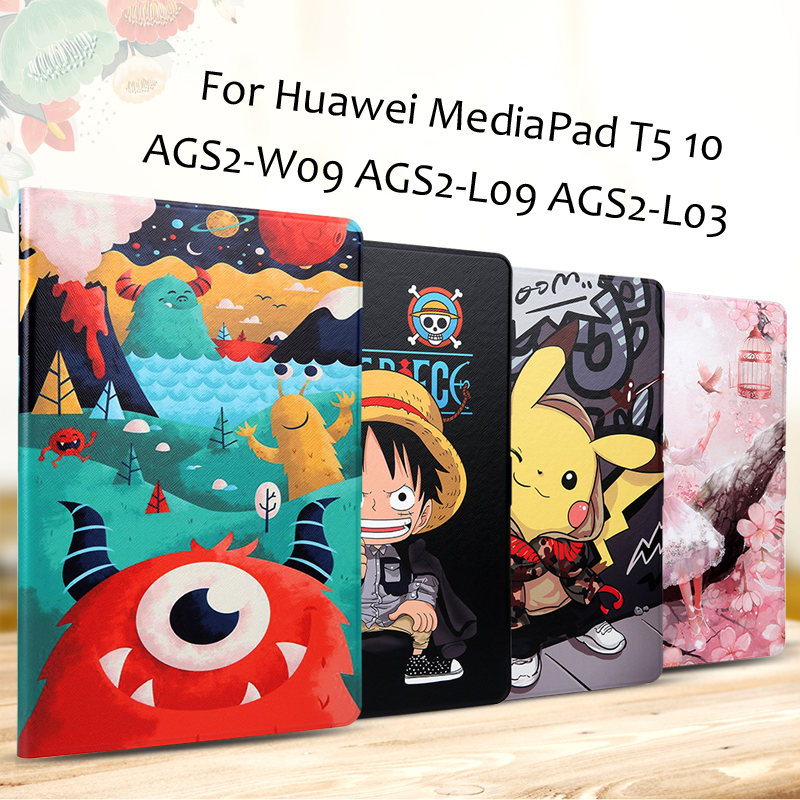 Fashion Painted Flip PU Leather Case For Huawei Mediapad T5 10 Case AGS2-W09 AGS2-L09 AGS2-L03 10.1'' Tablet Cover + Gift