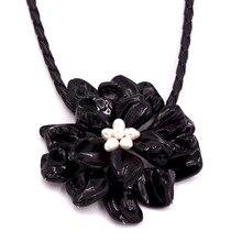 Классические ювелирные изделия черный жемчуг оболочки белый жемчуг ожерелье с тканой кожей