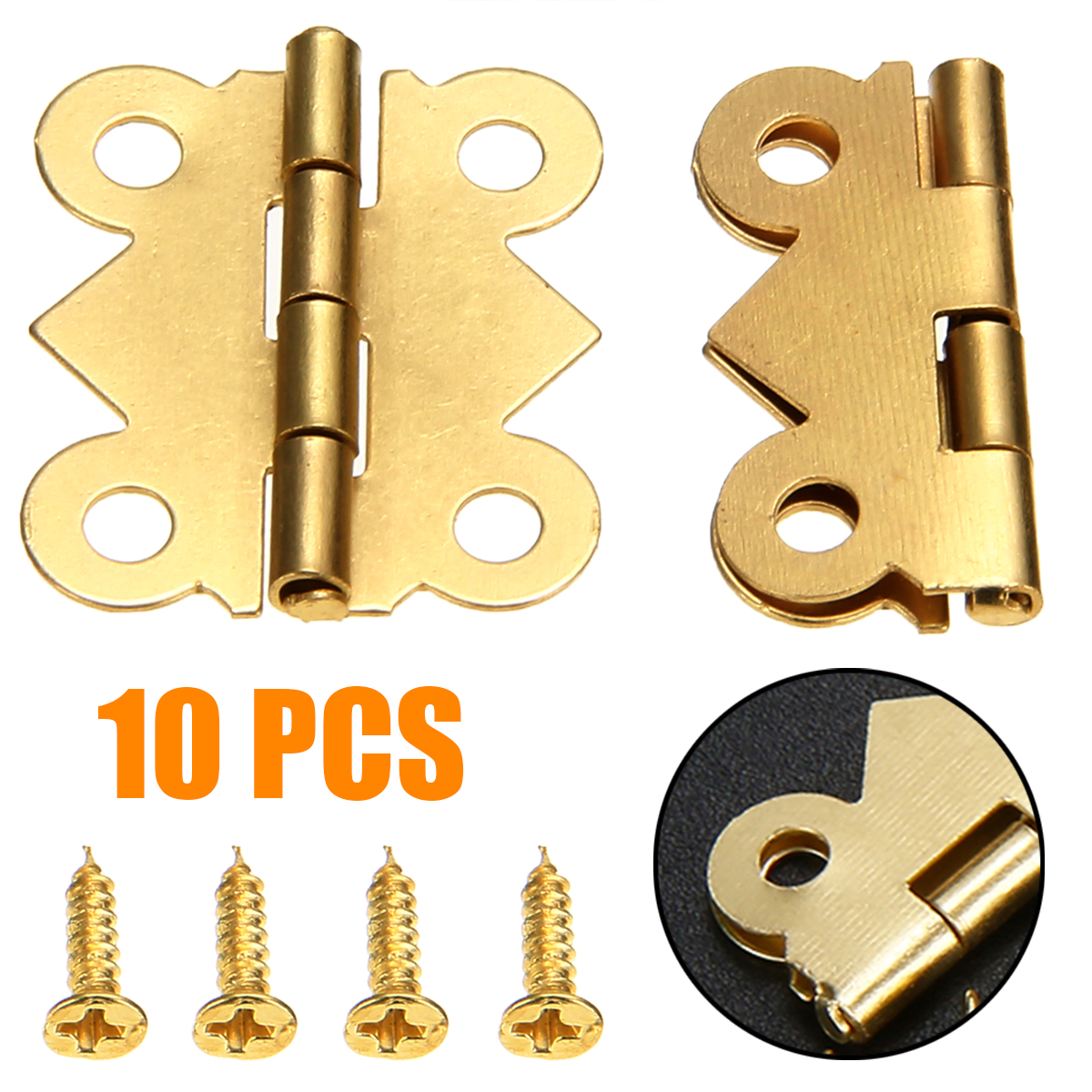 10x GOLD Butterfly Decorative Hinges Wood Jewellery Box Dolls House with SCREWS
