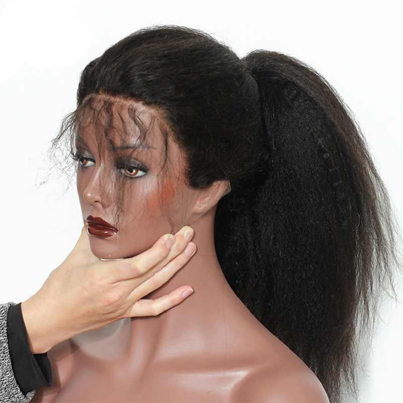 Кудрявый прямой бесклеевой полный парик человеческих волос шнурка для женщин бразильский Remy человеческих волос предварительно сорвал с волосами младенца Slove Rosa