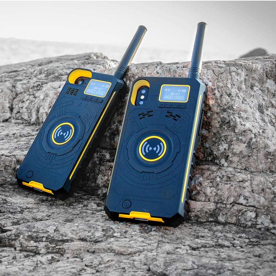NO 1 Multifonctionnel Sans Fil De Poche Talkie Walkie Étui de protection Mobile Power Banque Pour iPhone X 8 7 6 Plus LCD affichage