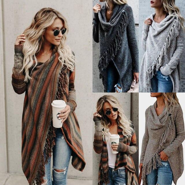 נשים גבירותיי סוודר קרדיגן ארוך שרוול גדילים צעיף להאריך ימים יותר סרוג מעיל סוודרים יחיד כפתור