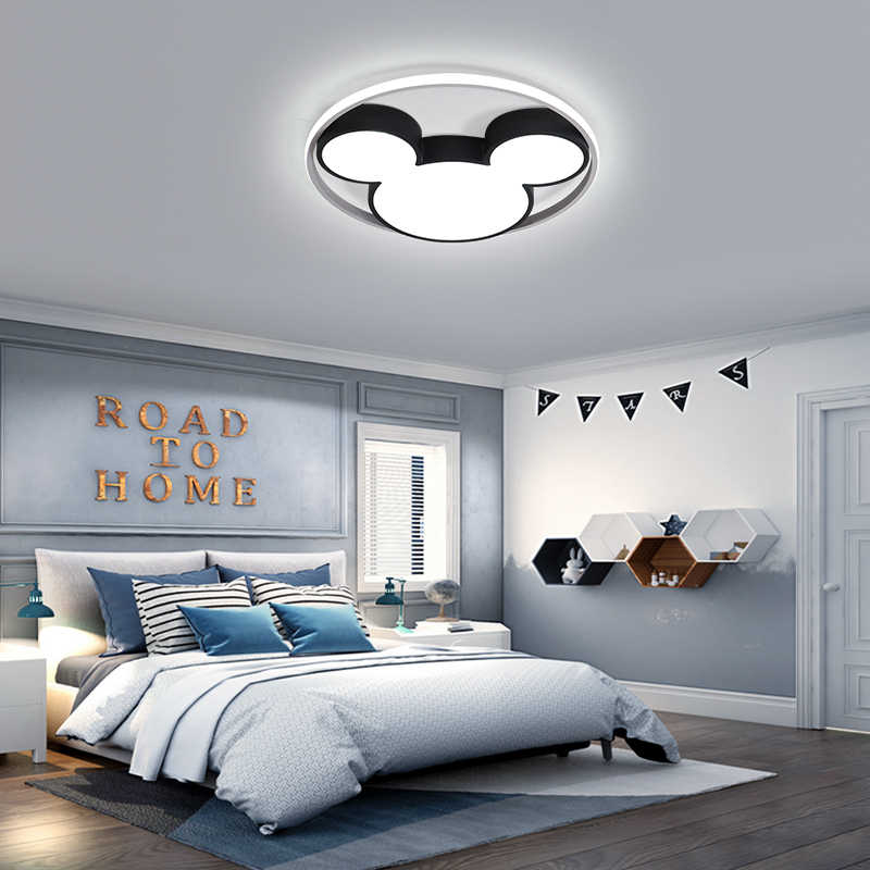 Современные светодио дный светодиодные потолочные светильники черный/белый МИККИ потолочные лампы для гостиной Детская комната спальня 220 В затемнения Plafondlamp