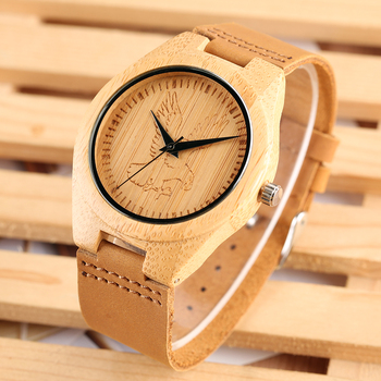 Natural Wooden Watch for Men Novel Eagle Pattern Wood Wristwatches for Lady Leather Band Strap Wooden Watches for Kids
