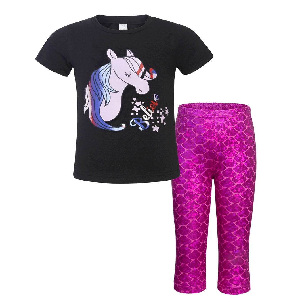 AmzBarley Toddler Girl Clothes Unicorn Mermaid Short Sleeve Cartoon Printed Casual Two-Piece Birthday Party Sets