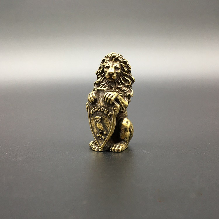 Collectable Chinese Brass Carved Animal Blessing Owl Lion Exquisite Small  Statues