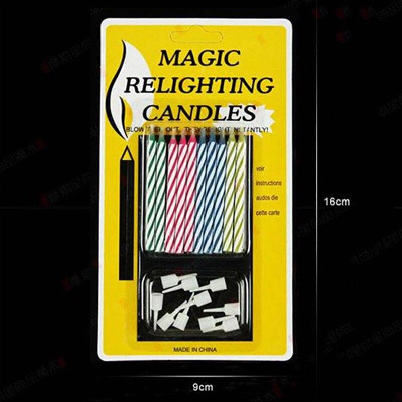 10 шт./упак. Magic повторно зажигаемая свеча розыгрыши трюки игрушки украшения для торта для вечеринки