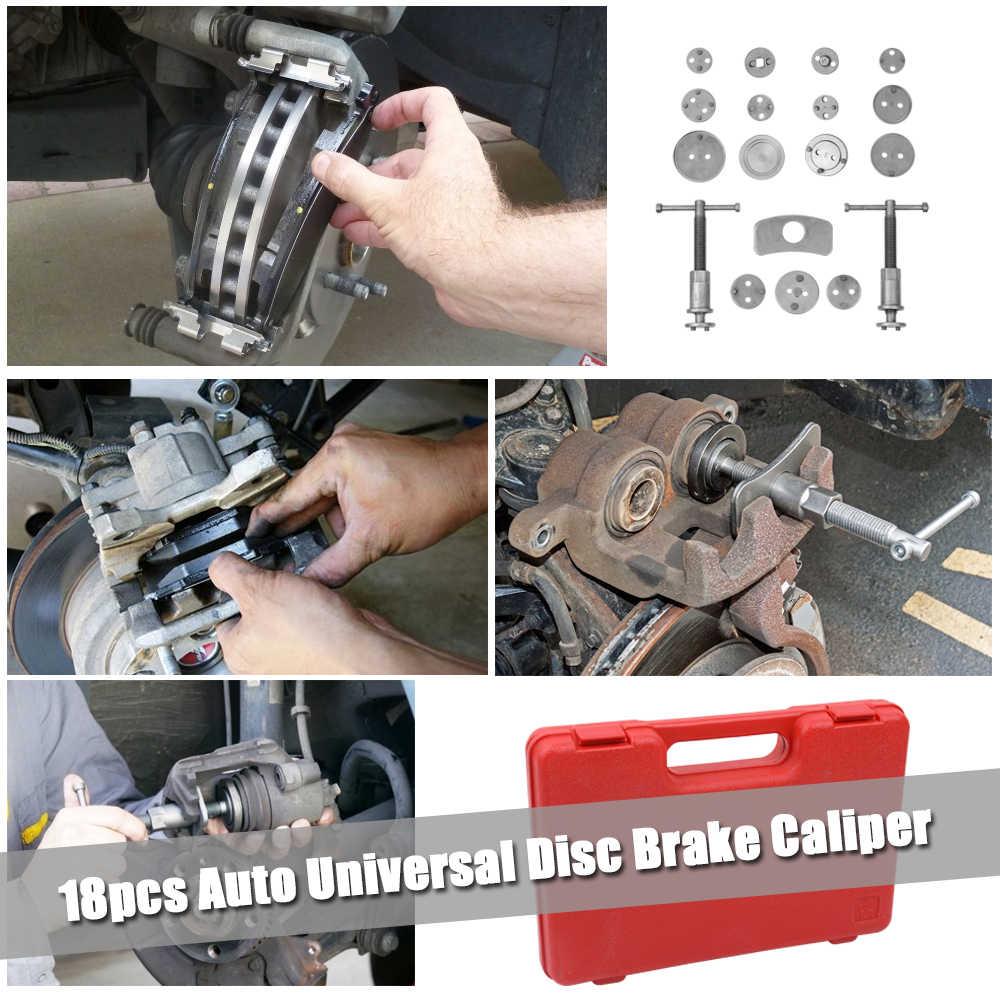 18 pièces Auto universel frein à disque étrier voiture vent arrière Pad Piston compresseur Automobile Garage réparation Kit d'outils ensemble avec étui