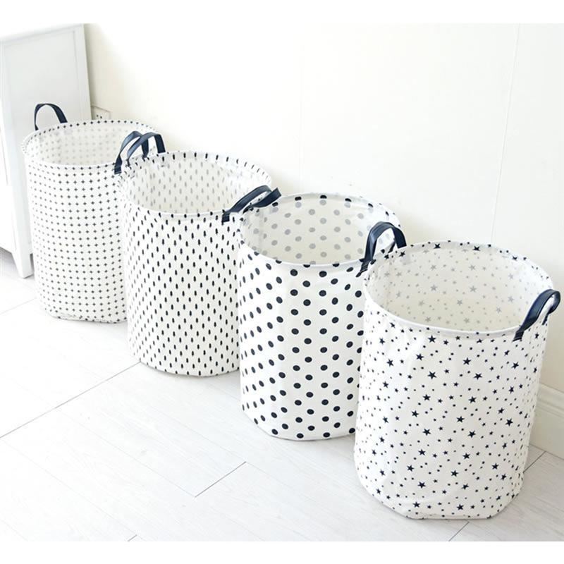 1 PC Portable Laundry Hamper Japanese Style Cotton And Linen Sundries Basket Dirty Clothes Storage Organizer Cross in Storage Baskets from Home Garden