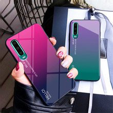 Gradient Tempered Glass Phone Case For Huawei P30 Luxury Colorful Anti-Scratch Slim Back Cover Funda