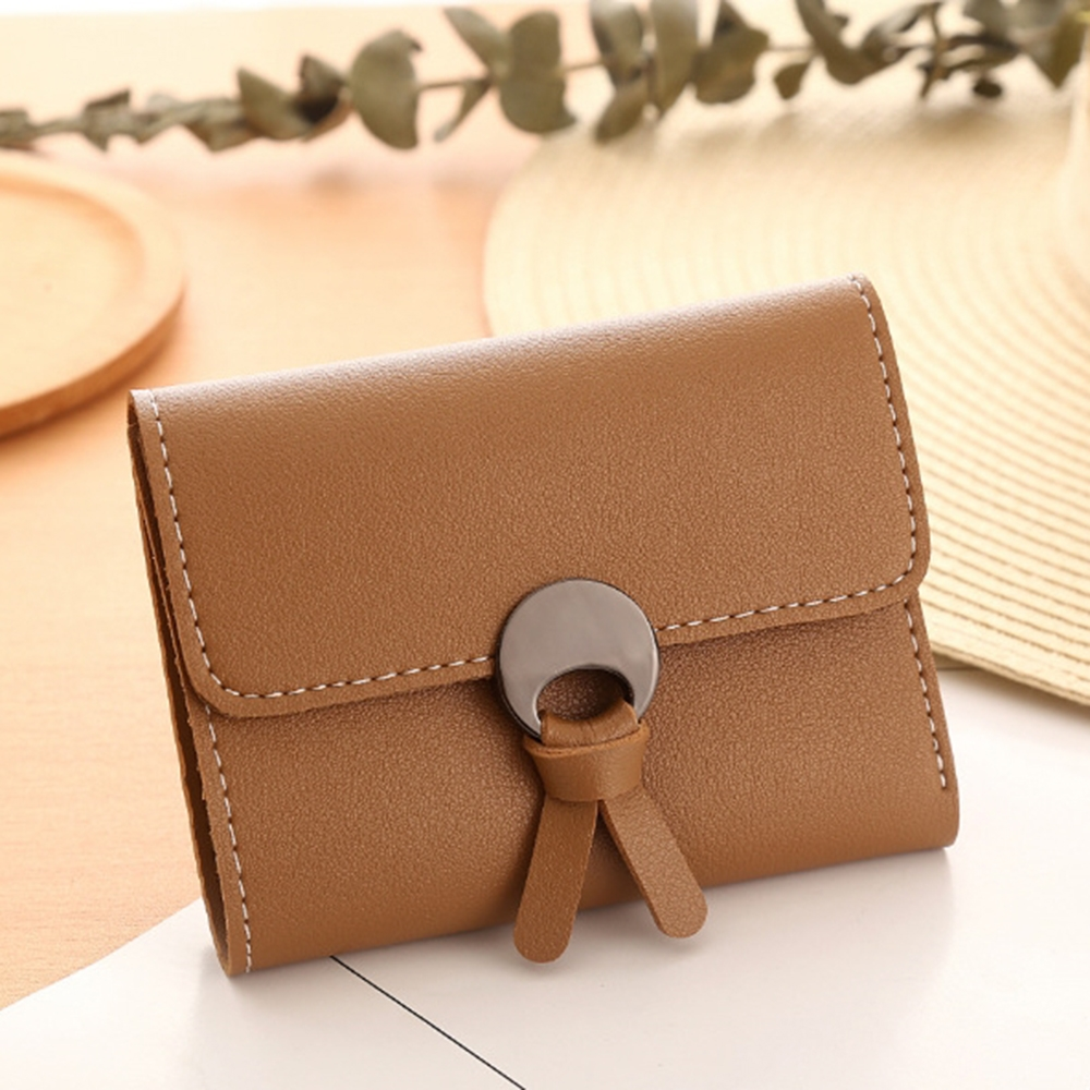 Simple Pu Leather Ladies Wallet Han Fan Small 3 Fold Card Pack Purse Fresh Girls Wallet Small Wallet in Wallets from Luggage Bags