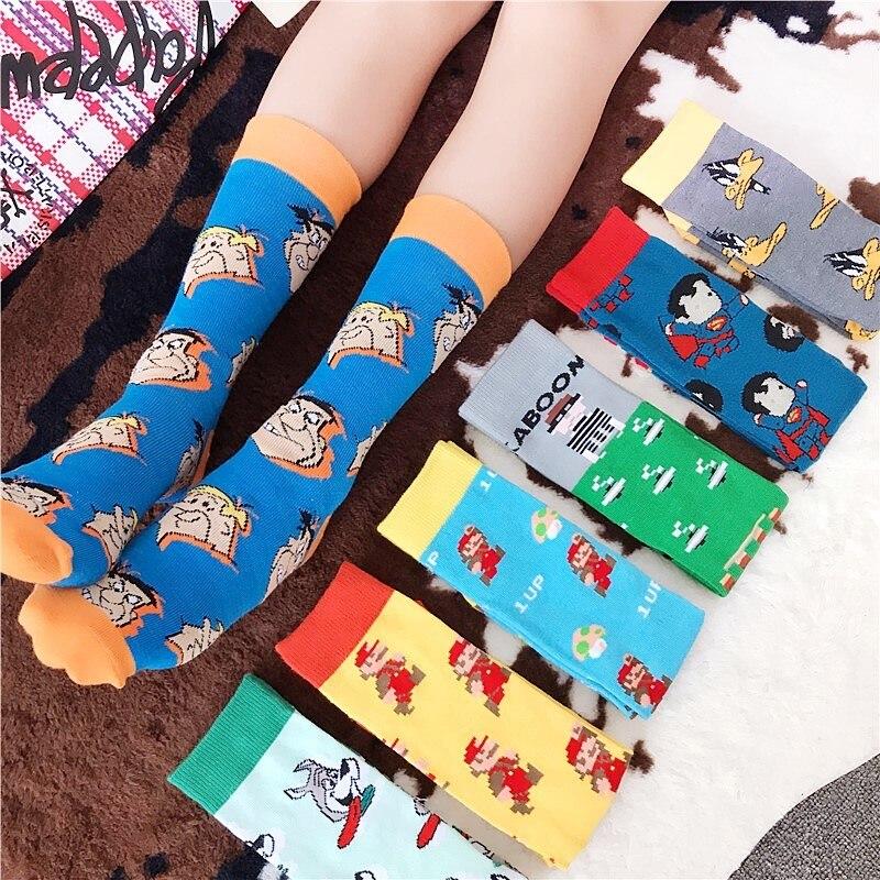Men Socks Flower Cartoon Anime Superman Funny Happy Harajuku Fashion Street Style Cool Skate Hip Hop Male Casual Cotton Socks