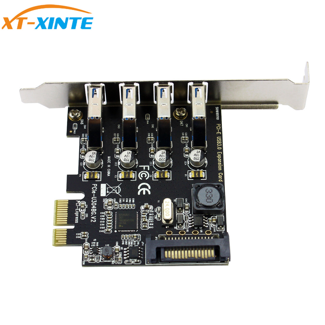 4 Port <font><b>PCI</b></font>-E to <font><b>USB</b></font> <font><b>3.0</b></font> HUB <font><b>PCI</b></font> <font><b>Express</b></font> Expansion Card Adapter 5 Gbps Speed image