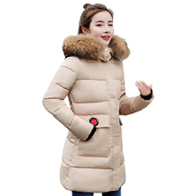 Winter Female Thick Parkas Big Fur Collar Hooded Warm Women Jacket Coat Mujer 2018 New Cotton Padded Elegant Long Outwear ls066 2018 new arrival winter jacket women fur collar hooded warm thicken female slim long parkas coats women cotton padded outwear