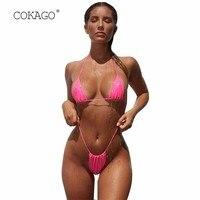 72d4082a2f3b COKAGO Low Waist Micro Sexy Bikinis 2019 Woman Yellow White Black Pink  Color Halter Women S. COKAGO Cintura Baixa Micro Biquínis Sexy 2019 Mulher  ...