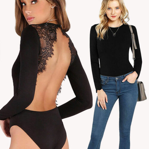 Women Clohes 2019 New Women Clothes Solid Color Long Sleeve Sexy Lace Backless Stretch Bodysuit Top Blouse Price $5.69