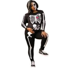2019 Womens  Dark Skeleton Halloween Costume Performance Passion Feast Printed Jumpsuit
