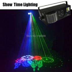 Czas na show pilot zdalnego sterowania LED 4 w 1 Gobo laser strobe efekt sceniczny 4 oczy światło obrazu profesjonalny do domowa rozrywka KTV w Oświetlenie sceniczne od Lampy i oświetlenie na