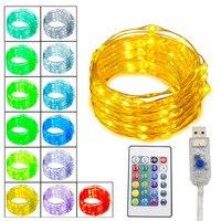 Barato 50 juegos x 5m 10m Usb Led Cadena de luz Led de alambre de cobre guirnalda