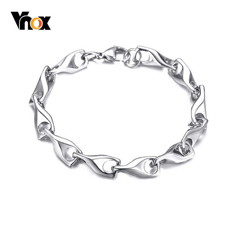 Vnox Solid Silver Tone Wishbone Bracelets for Women Never Fade Stainless Steel pulsera femenina Lucky Gifts