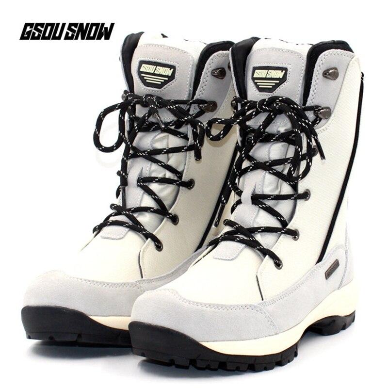 Gsou Schnee Schnee Stiefel Outdoor Frauen Hohe Schnitt Wasserdichte Anti-skid Wandern Schuhe Winter Plus Samt Futter Warme Camping Turnschuhe