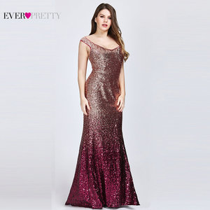 Image 4 - Plus Size 2020 Prom Dresses Long Ever Pretty EP08999 Sexy Mermaid Sequined Sparkle Red Prom Gown Elegant Special Occasion Gowns